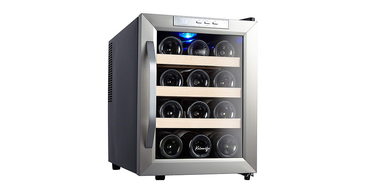 Kalamera KR12ASS 12-Bottle Counter Top Stainless Steel Wine Cooler image