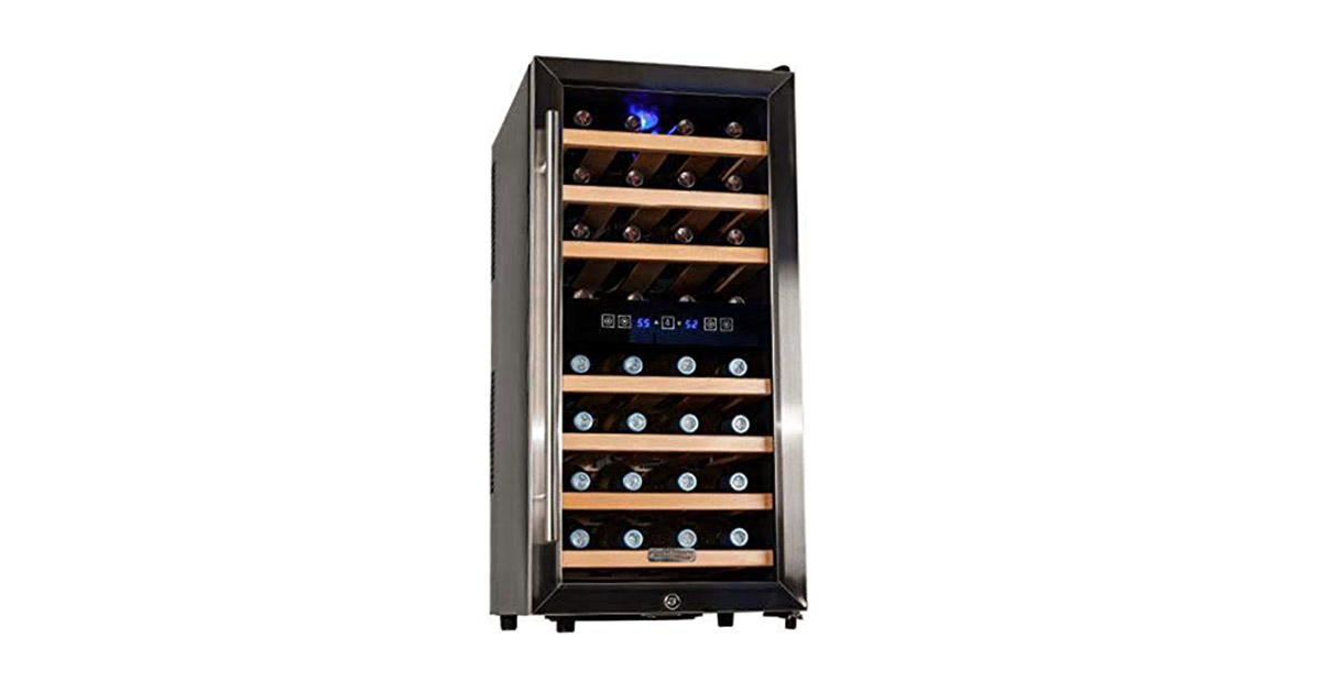 Koldfront TWR327ESS 32 Bottle Free Standing Dual Zone Wine Cooler image