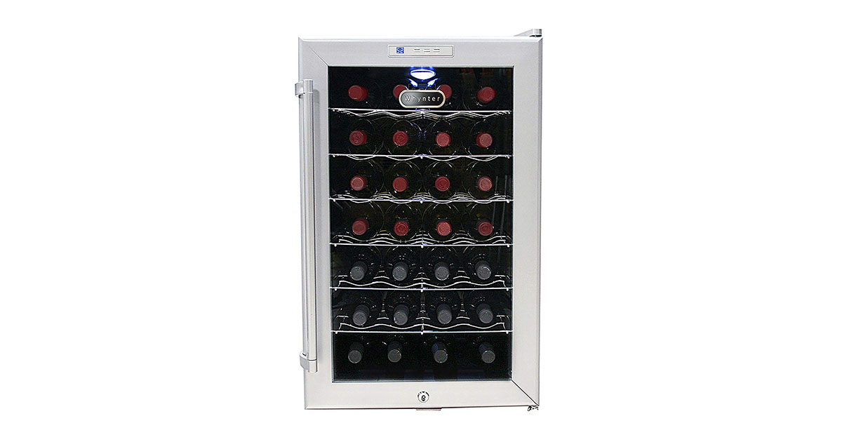 Whynter WC28S SNO 28 Bottle Wine Cooler Platinum with Lock image