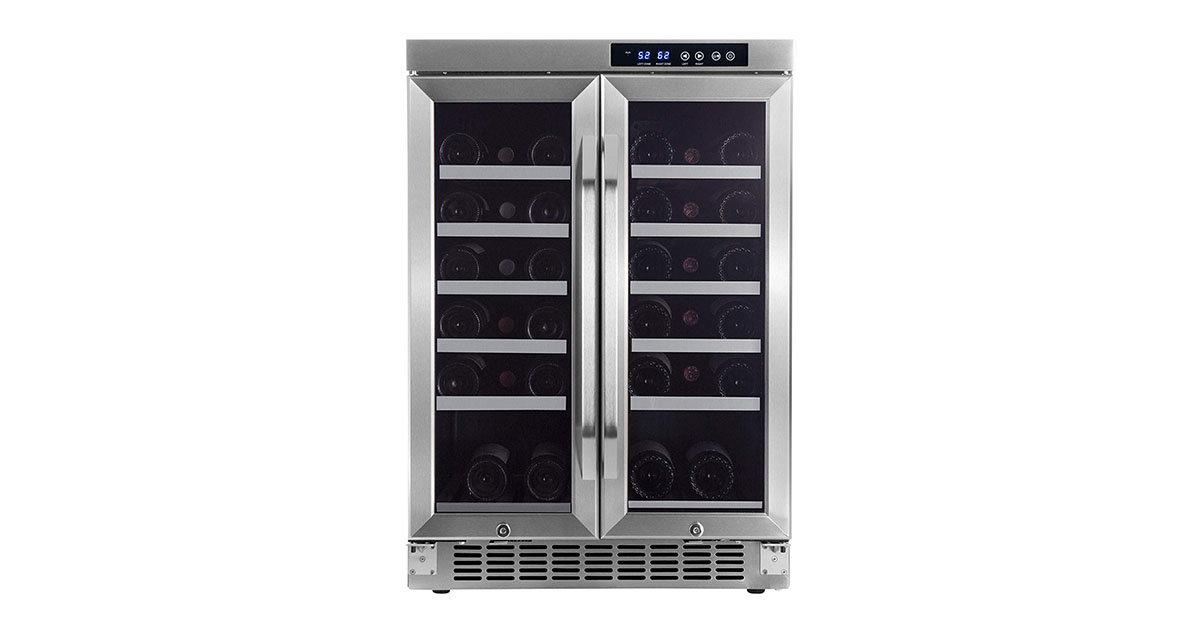 EdgeStar CWR361FD 36-Bottle Built-In Dual Zone French Door Wine Cooler image