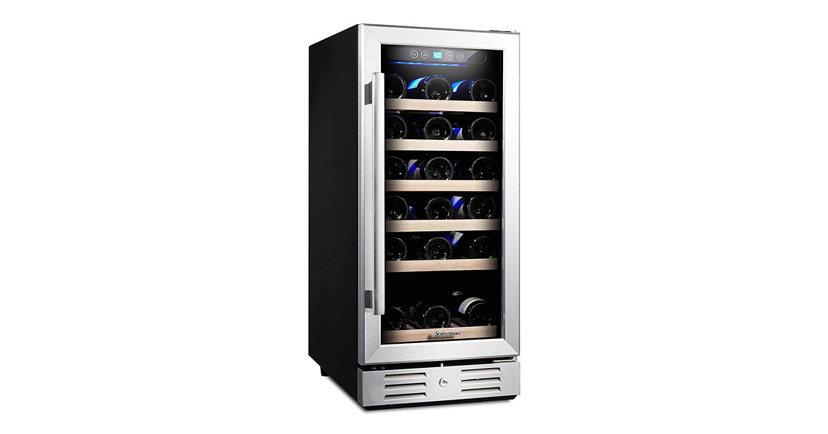 Kalamera KRC30SZBTGD 30-Bottle Built-in or Freestanding with Stainless Steel Wine Cooler image