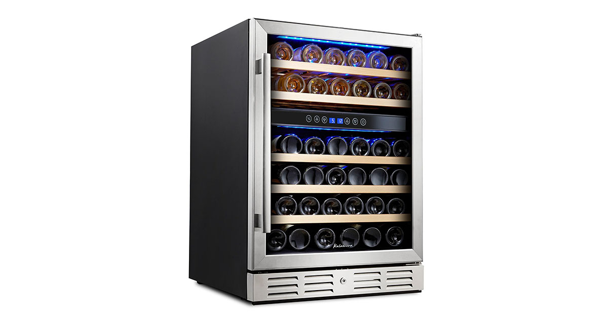 Kalamera KRC 46DZBTGD 46-Bottle Dual Zone Built-in and Freestanding Wine refrigerator image
